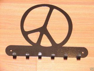 Peace Sign Key Rack Coat Hook Wall Hat Home Decor Leash