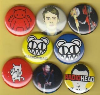 Radiohead Set of 8 Buttons Pins Badges Kid A