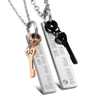 Plated Key Couples Titanium Stainless Steel Pendants Necklaces