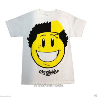 Men Funny T Shirt Wiz Khalifa Jimi Smile Face in White Shirt Fast USA