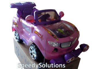 Kids Ride On Remote Control Car Pink Scooter Battery Power 5 MPH