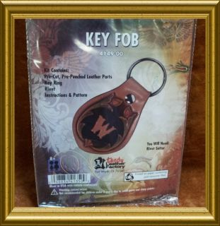 KEY FOB KIT 4149 00 Tandy Pre Punched Leather Craft Keys Holder Ring