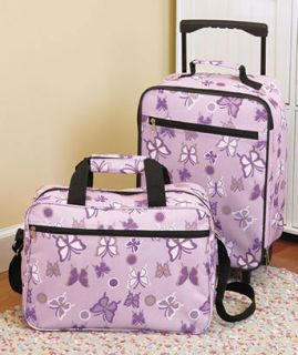 New 2 Pc Kids Butterfly Rolling Luggage Wheeled Suitcase Messenger Bag