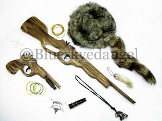Toy Rubberband Guns Hat Badge Necklace Rabbit Foot Whistle Gift Set