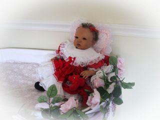 Reborn Baby Doll Sweet Baby Girl Kiana with HUMAN HAIR, no animal hair