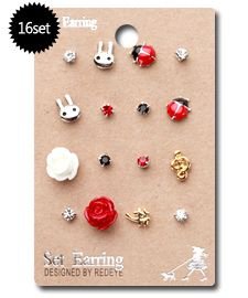 of Mix Match Stud Mini Earrings for Kids Ladybug Christmas Gift
