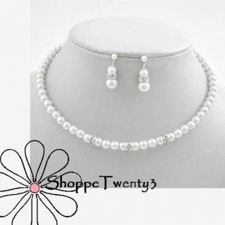 White Pearl Necklace Set Wedding Party Childrens Jewelry New & Boxed