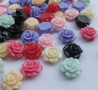 Small Rose Flat Back Buttons Scrapbooking Kids DIY Craft B211