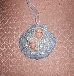 fantasy art handmade OOAK 2 mermaids in a sea shell SILVER ornament by