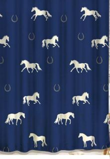 White Horses on Blue Western Fabric Shower Curtain Bathroom Home Decor