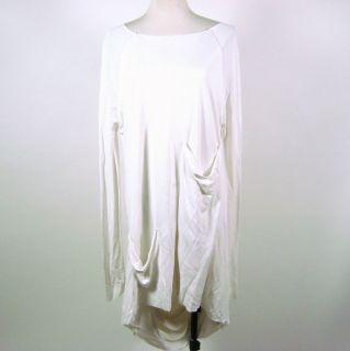 Khloe Kardashian Kimberly Ovitz White Long Sleeved Drape Dress