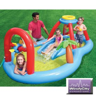 Kids Windmill Blow Spray Water Play Center Inflatable Swimming Pool