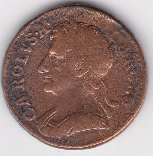 Great Britain UK Farthing Circa 1672 King Charles II Old Coin