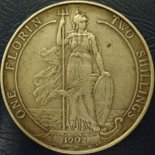 Two Shillings Silver Coin from Great Britain King Edward VII