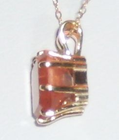 Sunstone 8.5mm Princess Cut FIRE ORANGE 10k Gold KILLER Schiller