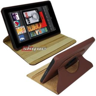 Rotating Leather Hard Stand Case For  Kindle Fire 1st 2nd Gen