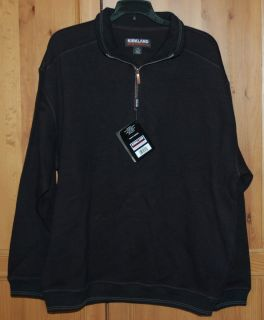 New Mens Kirkland Zip Up Pullover Jacket sweat Shirt Size Large Black