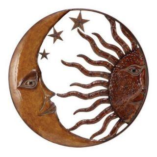 Metal Sun Moon Star Sculpture Wall Decor Arts 21D