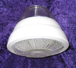 Vintage White & Clear Kitchen Ceiling Light Fixture or Pendant Glass