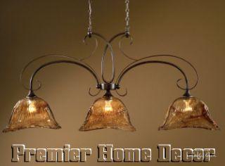 Old World Tuscan 3 Light Kitchen Island Chandelier Bronze Finish