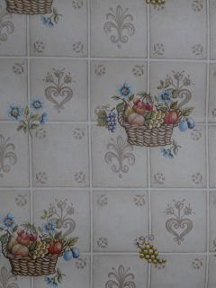 Fruit Baskets Kitchen Backsplash PVC Vinyl Roll Peel N Stick