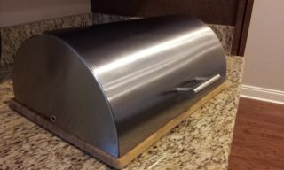Polished Stainless Steel Kitchen Rolltop Bread Box
