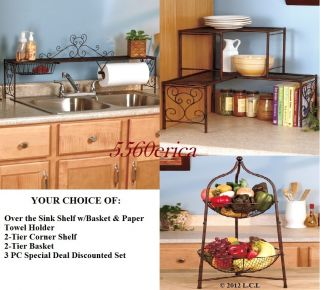 Bronze Over The Sink Shelf for Kitchen w Paper Towel Rack Basket More