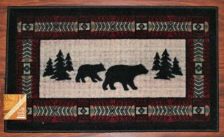 Lodge Bear Paws Black Red Pine Kitchen Rug Mat Washable Mats Rugs