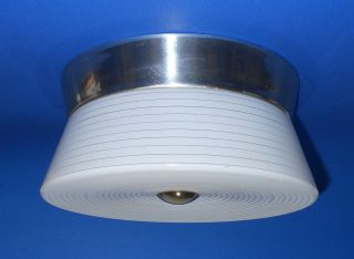 Virden Kitchen Ceiling Light Aluminum Base Grooved Glass Mid Century