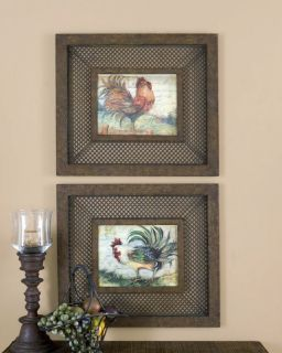 Shabby French Country Tuscan Le Rooster Kitchen Wall Art Décor, S/2