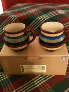 Longaberger Woven Traditions Pottery Bright Multi Color Stripe Mugs