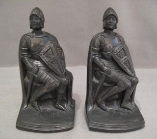 Antique Metal Medieval Knight Bookends