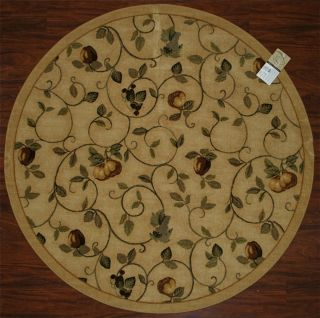Rug Fruits Vines Pears Beige Green Grapes Kitchen Washable Rugs