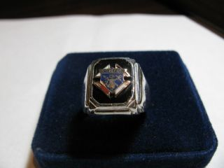 Knights of Columbus Fraternal Mens Enameled Symbol Ring   10K & .925