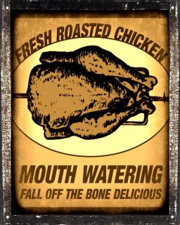 ROASTED CHICKEN VINTAGE deli diner SIGN retro kitchen wall decor art