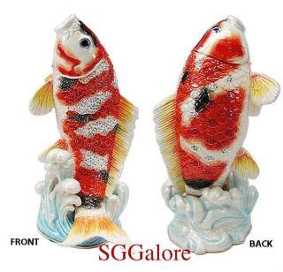 Crystals Bejeweled Tropcial Koi Fish Trinket Jewelry Box