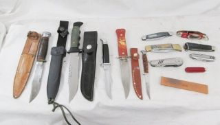 12pc Knife Pocket Knives Tools w Buck Imperial Camillus