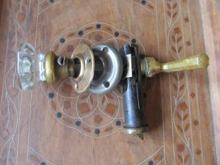 Old Brass Glass Screen Door Knob Striker Set