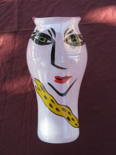 Kosta Boda Hand Painted Signed Numbered Pink Glass Vase by ULRIKA