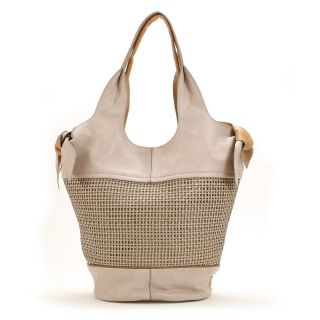 Kooba $548 Large Cement White Sarah Woven Bucket Bag Authentic