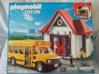 Playmobil City Life 5989 School Bus School House Construction 125 PC
