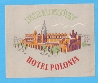 Polonia Hotel Luggage Label Krakow Poland