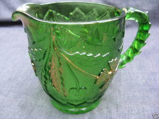 EAPG Green w Gold Pattern Glass Delaware Table Creamer