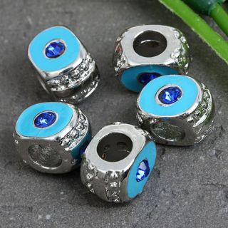 5X Silver Plated Enamel Rhinestone Evil Eye Charms Bead