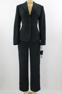 Tahari Women Suit Set Kristi Pant Jacket Set Dark Navy Blue Size 4P
