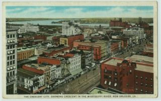 101109 Birds Eye View New Orleans La Crescent City Postcard