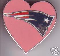 New England Patriots Pink Heart I Love Patriots Pin