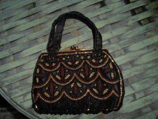La Regale Beautifully Beaded Black Gold Bronze Evening Bag Purse