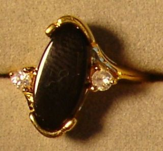 Ladies 18kt Gold Overlay Black Onyx Crystal Design Rings in Sizes 5 6