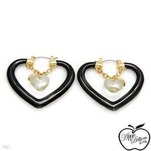Apple Bottoms Black Big Heart Hoop Ladies Earrings